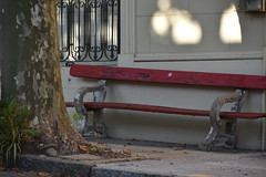 red bench in shade (Hayashina) Tags: red bench light shade colonia uruguay hbm