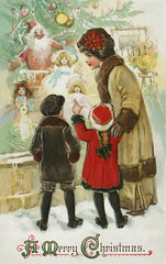 Mother and children on a Christmas card (Free Public Domain Illustrations by rawpixel) Tags: jubjang mynt pdproject20 pdproject20batch44 pdproject22 vector pdproject20batch44x antique art artwork boy brundage card celebration child childhood children christmas design display drawing europe european francesbrundage girl happiness happy historic historical history holiday holidays illustration kids littleboy littlegirl merry merrychristmas mom mother name painting people postcard print publicdomain retro shop shopping snow store toy traditional tree vintage window xmas young