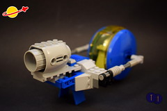 LL 167 Mule (Harding Co.) Tags: lego space scifi classic classicspace spaceship astronauts minifigure minifigures science exploration dropship ship supply equipment engine vehicle flying windscreen cockpit cargo blue yellow grey pink white robot