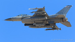 """General Dynamics F-16C Fighting Falcon of the 120th Fighter Squadron """"Mile High Militia"""" of the 140th Wing of the Colorado Air National Guard from Buckley AFB (Norman Graf) Tags: ordnance coang aircraft p5ctstcts airplane 860370 generaldynamics usaf aircombatmaneuverinstrument redflag172 electronicwarfare aim120 litening f16c missile aim9x aim9 aim 140wg analq131ecmpod nellisafb airnationalguard targetingpod 120fs f16 militaryexercise"""
