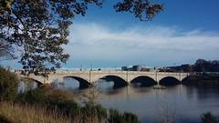 Victoria Bridge, Aberdeen, Oct 2018 (allanmaciver) Tags: victoria bridge torry aberdeen water river dee trees sky weather granite stone silver city north east allanmaciver rowers blue