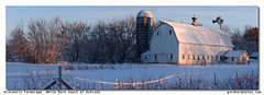 Wisconsin Farmscape, White Barn South of Ashland (gardnerphotos.com) Tags: wisconsinfarmscape barn farm white gardnerphotoscom winter cold snow northernwisconsin rural agriculture landscape panorama