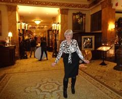 "I'm Thinking Of Re-Naming This ""Laurette's Place"" (Laurette Victoria) Tags: woman laurette blonde blouse skirt animalprint pencilskirt hotel lobby milwaukee pfisterhotel"