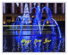 Bonne année  - Happy New Year (diaph76) Tags: extérieur lumière light fêtes holidays france normandie seinemaritime lehavre bassin reflets reflections nouvelan newyearseve nuit night décoration festivités celebrations water