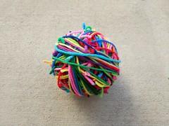 Three scrap yarn balls joined into one (crochetbug13) Tags: crochet crocheted crocheting scrapyarnball yarnscraps magicball