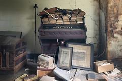 ...attic finds... (Art in Entropy) Tags: abandoned house attic organ books room light urbex urban decay explore exploration grime creepy mood antiques chest treasure keys