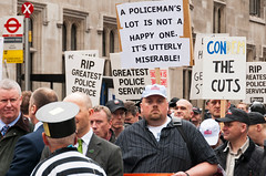 """120510 Police Protest 293 (hoffman) Tags: police protest march rally demo demonstration demonstrating demonstrater demonstrator demonstrate protesting street politics cuts economy marching creditcrunch cop constabulary lawandorder constable officer policeman officers policing employment job jobs davidhoffman wwwhoffmanphotoscom london uk gbr davidhoffmanphotolibrary socialissues reportage stockphotos""""stock photostock photography"""" stockphotographs""""documentarywwwhoffmanphotoscom copyright"""