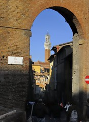 Landmark: Torre del Mangia, 1348, beside Palazzo Pubblico on Piazza del Campo, Siena, Italy (edk7) Tags: nikond300 nikonnikkor18200mm13556gedifafsvrdx edk7 2008 italy italia tuscany toscana siena contradadellonda district ward architecture building oldstructure sculpture stonecarving city cityscape urban arch marble sky belfry viasagata palazzopubblico campanile belltower torredelmangia1348 medieval person people house
