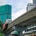 Monorail Train arriving at Train Station in Kuala Lumpur