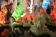 Thien Cung Grotto Cave (Seventh Heaven Photography *) Tags: ha long vietnam nikon d3200 thien cung grotto cave light rock water reflections fountain orange green blue