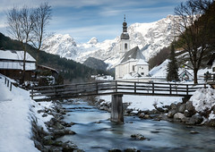 Faith (inkasinclair) Tags: ramsau germany berchestgaden church parish st sebastian winter snow bridge sunrise water mountains