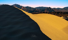 Sunrise Contrast on the Dunes (TierraCosmos) Tags: sunrise sand sanddunes mesquiteflat deathvalley deathvalleynationalpark california desert silhouette contrast mountain landscape