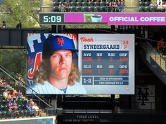 "Citi Field, 09/30/18 (NYM v MIA): Noah Syndergaard at-bat graphics as shown in the bottom of the 8th inning - ""Thor"" would strike out swinging for the first out (IMG_4554a) (Gary Dunaier) Tags: ballparks baseball stadiums stadia mets newyorkmets flushing queens newyorkcity queenscounty queensboro queensborough citifield"
