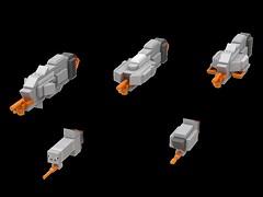 Hiigaran Destroyer lineup (kylerjadams) Tags: homeworld kushan hiigaran lego space cruiser destroyer