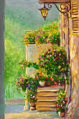 Spectacular traditional decorated street with flowers and rustic houses in typical Italian street, Pienza, Tuscany, Europe Original oil painting (Painting by Rybakow) Tags: spectacular traditional decorated street flowers rustic houses typical italian pienza tuscany europe original oil painting city town old lantern summer tuscan italy flower travel vintage outdoor architecture house stone exterior village facade door medieval decoration plant home building tourism beautiful green courtyard colorful garden urban historic arch alley