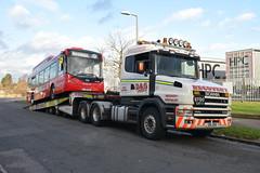 Not In Service (davidvines1) Tags: bus dennis alexander enviro200ev ratpgroup londonunited dg recovery truck lowloader scania 144g d10odg lj18fkm harlow