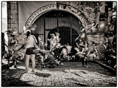 Chaos in Old San Juan (Edward Bartel) Tags: regent cruise m43ftw travel travelphotography caribbean tropics tropical island puertorico sanjuan oldsanjuan street motion pigeons flight flock desaturated nikcollection analogefex silverefex toned 2018 bridgetown barbados westindies