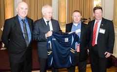 Presenting a  GA jersey to an Irish cabinet member