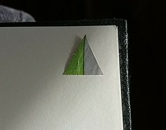 Found Dual Aspiration (avaDarlene) Tags: dualaspiration triangle partners aspiration message found journal paper cut marriage green symbiont sketchbook