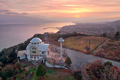 The Church of Saint Constantine and Helen, in Platamonas, Pieria Greece, during sunrise (johzio) Tags: aerial aerophotography agios architecture beautiful bell blue building chapel christianity church cityscape color community constantine dome drone europe exterior greece greek helenl heritage high history houses landscape macedonia mediterranean monument morning olympus orthodox outdoor pieria platamona platamonas red religion saint sky spirituality structure sunrise tower town travel view village white