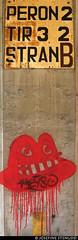 20170705_04 Platform sign & red jellyfish at the station in Zidani Most, Slovenia (ratexla) Tags: ratexlasinterrailtrip2017 interrail 5jul2017 2017 canonpowershotsx50hs zidanimost slovenia slovenien interrailing eurail eurailing tågluff tågluffa tågluffning travel travelling traveling journey epic europe earth tellus photophotospicturepicturesimageimagesfotofotonbildbilder wanderlust vacation holiday semester trip backpacking tågresatågresor resaresor europaeuropean sommar summer ontheroad republikaslovenija slovenija sign signs skylt skyltar old graffiti jellyfish klotter red blob railroadearth