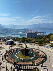 Fountain Viewed from Monument at Tanzi Ling Park Three Gorges Dam Yichang China (Barbara Brundage) Tags: fountain viewed from monument tanzi ling park three gorges dam yichang china