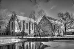 Chapelle commanderie, Elancourt (patrick Thiaudiere, thanks for + 2 millions views) Tags: glace ice etang basin water eau nb monochrome chapel chapelle commanderie church eglise
