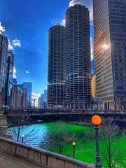 it's all green so it's all good! (BillsExplorations) Tags: stpatricksday green chicagoriver river downtown luckoftheirish irish ireland holiday bridge skyscraper water slide sliderssunday hss