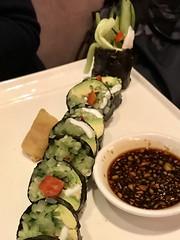 Cali Roll (nori sushi with fresh coconut, dulse, avocado, macadamia nuts, cucumber, bell pepper) (TomChatt) Tags: food parttimevegetarian asianfood