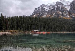 The Boathouse, Canoe Rentals on Lake Louise (PhotosToArtByMike) Tags: lakelouise emeraldlake turquoisecoloredwater banff banffnationalpark turquoisewaters canadianrockies albertacanada mountain mountains boathouse canoerentals