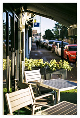 Empty chairs at empty tables (exreuterman) Tags: 35mm film analog colour fuji superia 200asa leighonsea canon eos1n 50mmf12l