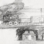 Steam locomotive and a house with a chimney (1892) by Julie de Graag (1877-1924). Original from the Rijks Museum. Digitally enhanced by rawpixel. thumbnail