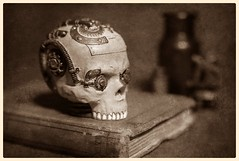 Steam Punk Still Life (N.the.Kudzu) Tags: tabletop stilllife steampunk skull book bw sepia texture canondslr zenitar50mmf12 photoscape
