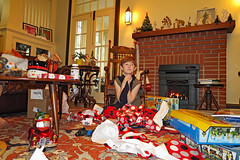 christmasgrant20198 (FAIRFIELDFAMILY) Tags: christmas 2018 jason taylor grant carson michelle winnsboro sc south carolina present presents family living room house interior arts crafts craftsman bungalow antique fireplace rug lego legos child boy young old children boys mother son fairfield county vintage tree morris chair oak mantle piece