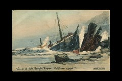 Wreck of the George Roper by F. Booty. (Early Australian marine-art postcards) Tags: maritime marineart wreck beach ocean ship
