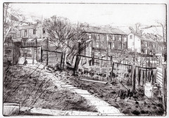 Allotments with terraced Houses, Rossendale (larosecarmine) Tags: rossendale cowpe allotments waterfoot rawtenstall drawing urban etching drypoint sketch caroline johnson