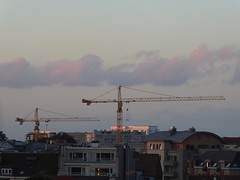Two cranes at dusk (seikinsou) Tags: brussels belgium bruxelles belgique summer midsummer dusk skyline sky cloud crane sunset