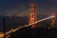 Golden Gate viewing point (reinaroundtheglobe) Tags: sanfrancisco california usa goldengatebridge night nightphotography longexposure nopeople lighttrails traffic