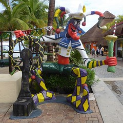 Cozumel, Mexico, Day 10 -- Caribbean Cruise Vacation, Tourist Market at the Port, Court Jester (Mary Warren 12.0+ Million Views) Tags: cozumelmexico caribbean cruise hollandamerica art sculpture jester colorful market coth