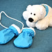 Children's mittens and white bear
