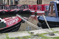 Tethered (Geoff France) Tags: landscape canal waterway marina sowerbybridge rope fender barge canalbarge rochdalecanal red boat quay wharf