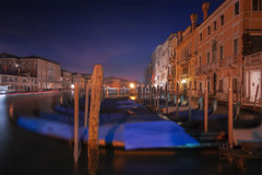 Venetian paths 130(ghost and gondolas) (Maurizio Fecchio) Tags: venice venezia italy nikon sunrise longexposure nopeople water lights sky city cityscape travel tranquility gondola canal d7100