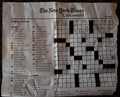 Crossword puzzle started by someone else, who does not seem to know about lava, or that Pavarotti is a tenor -- torn out of an airline magazine by me, to be saved for this day (kfpsardou) Tags: 118picturesin2018