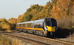 Diverted Grand Central In Autumn Colours. (Neil Harvey 156) Tags: railway 180105 bessacarrjunction bessacarr doncaster class180 dmu multipleunit grandcentral adelante zephyr diversion