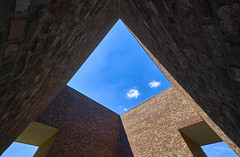 triangle view (Blende1.8) Tags: raketenstation geometric geometry geometrie symmetry symmetrie dreieck triangle hombroich langenfoundation architecture architektur bluesky clouds brick bricks wall wand wide wideangle 1224mm sel1224g sony alpha ilce7m3 nrw germany a7iii a7m3 emount