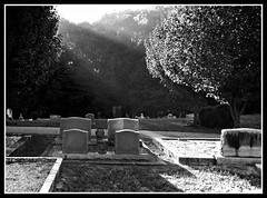 Old Hightower Church Cemetery (jhpen2) Tags: churchyard cemetery graveyard sunrays blackandwhite bw film graves