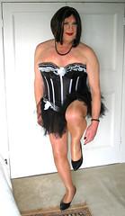 bronzemaxblktutu-003 (fionaxxcd) Tags: crossdresser crossdressing transvestite trannie tranny m2f mtf girlboy bust pantyhose basque rednails lipstick stilettosblackpatent frillypetticoat cleavage
