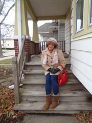 Little Girl Lost? (Laurette Victoria) Tags: hat auburn scarf coat gloves leggings boots porch woman laurette purse