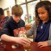 Newton-Conover Middle students work on an experiment in their MakerSpace at their Catawba County school. NC State's Science House infuses MakerSpace technology and engineering practices with the NC science and math core objectives, by assisting STEM schoo