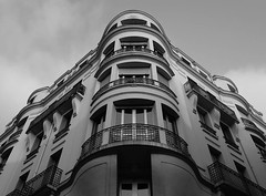 Vichy (Andy WXx2009) Tags: architecture outdoors building streetphotography structure vichy france europe skyline tower artistic landscape sky cityscape blackandwhite monochrome windows balcony urban city